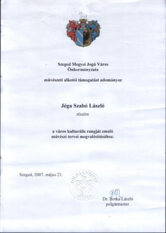 Szeged Város Alkotói díj 2007